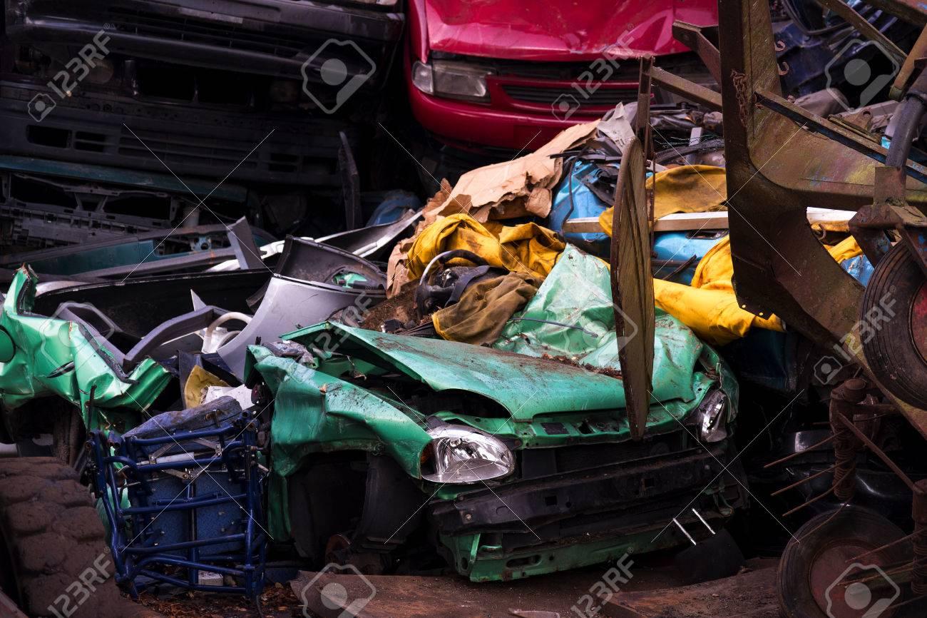 Colors On The Junkyard, Crushed Turquoise Scrap Car, Yellow Garbage ...