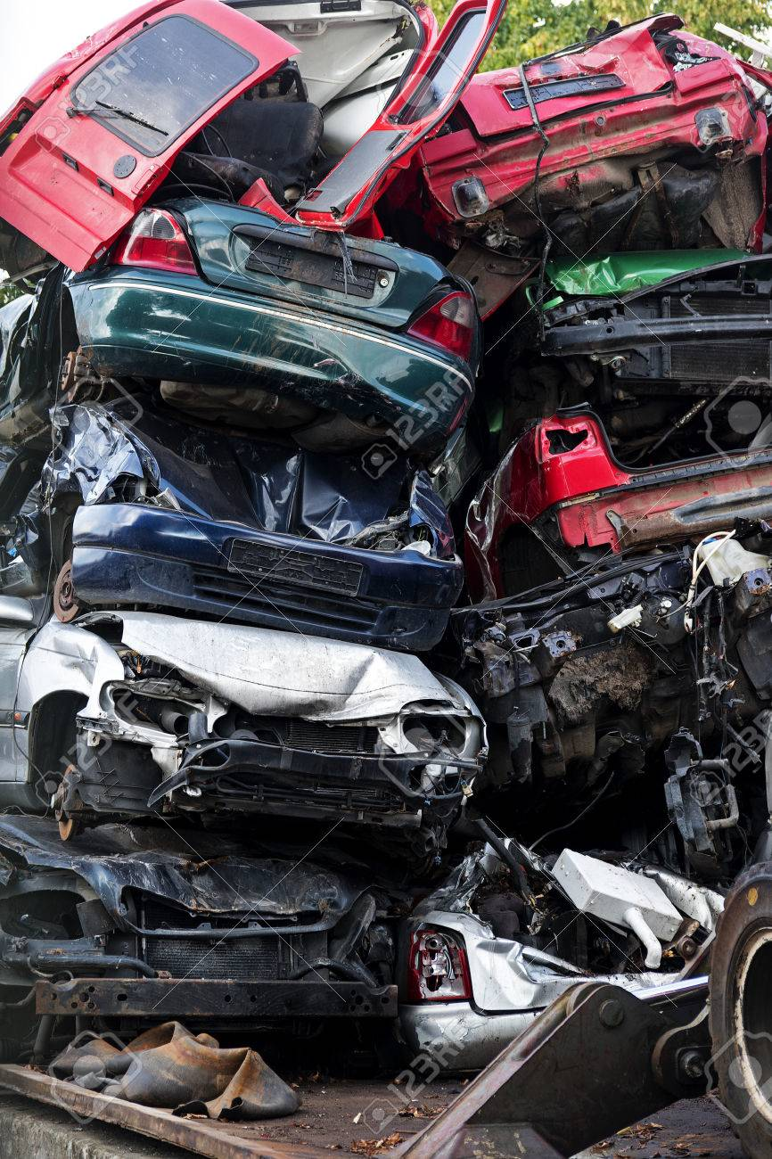Piled Scrap Cars On The Junkyard, Vertical, Concept For Insurance ...