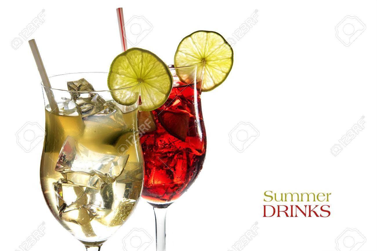 Rote Und Gelbe Cocktail, Frische Mixgetränke Aus Saft Der Limonen ...