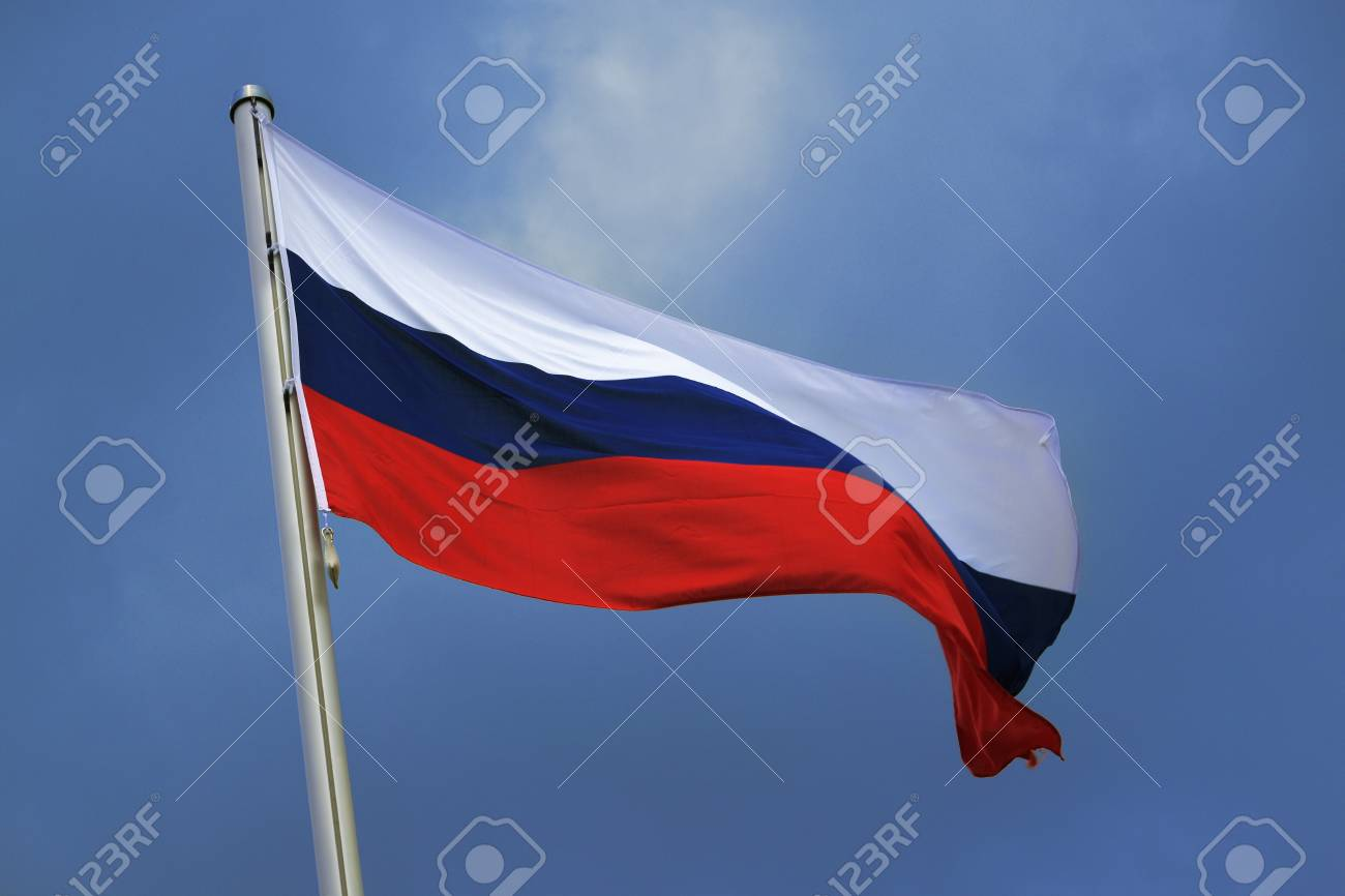 Flag Of Russia With Stripes In White Blue And Red National Stock