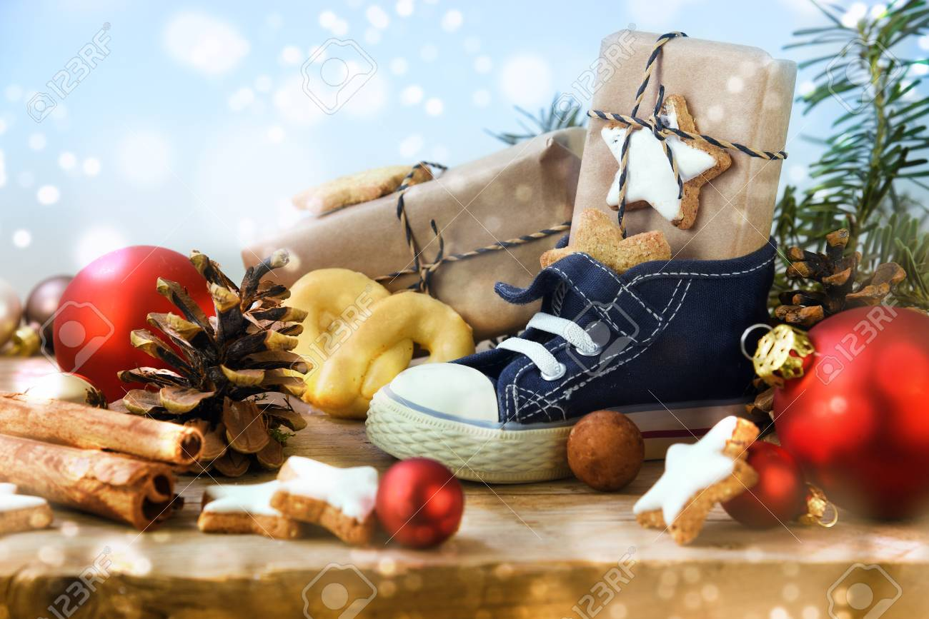 St Nicholas Day Childrens Shoe With Sweets Gifts And Christmas