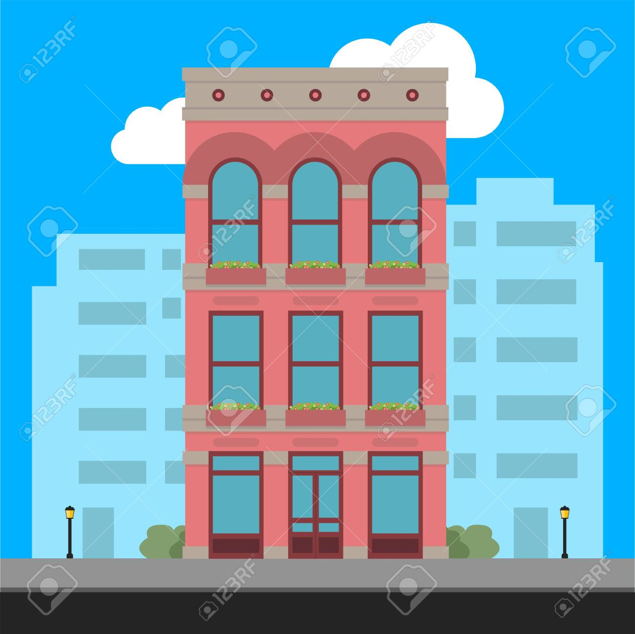 Apartment Building and City Illustration - Vector - 123546538