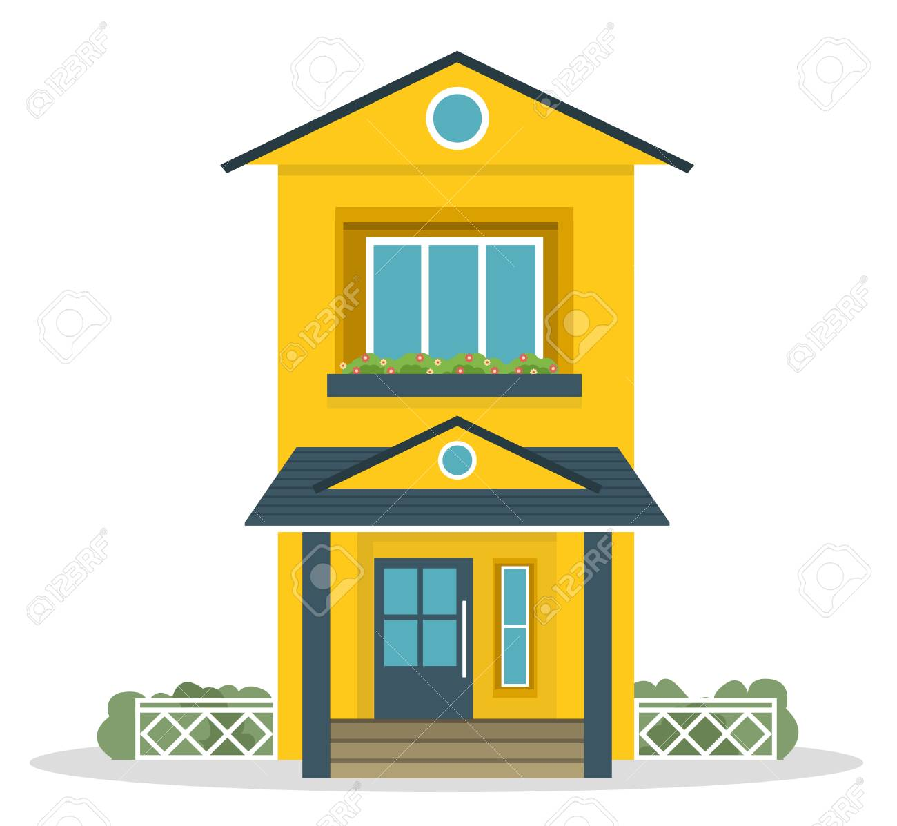 Vector - Flat style countryside family house with backyard lawn concept. Architecture design elements. Build your world collection. - 123546742