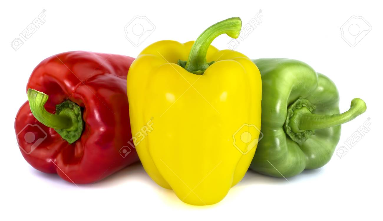 31676e90fc21 Stock Photo - Sweet red green yellow color bell pepper isolated on white  background