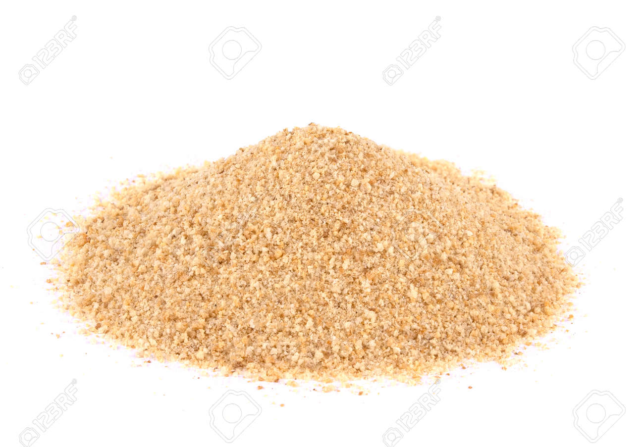 Pile of bread crumbs isolated on white. natural food ingredient. - 153920344