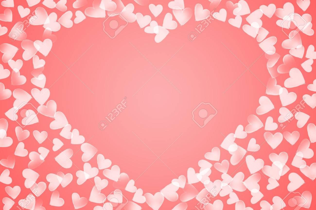 Rosa Weiße Farbe Verstreut Verschiedene Größe Skizze Herzen Geformt ...