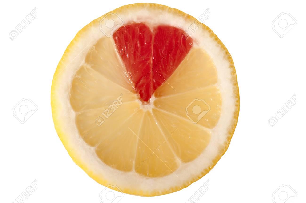 Lemon and grapefruit combination form a heart silhouette Stock Photo - 16133679