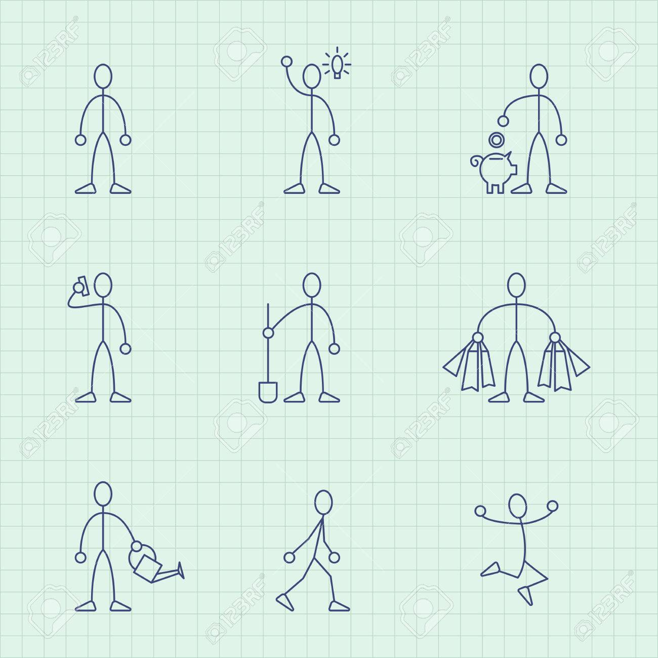 Vector drawing from lines of simple little men in different situations - 83541606