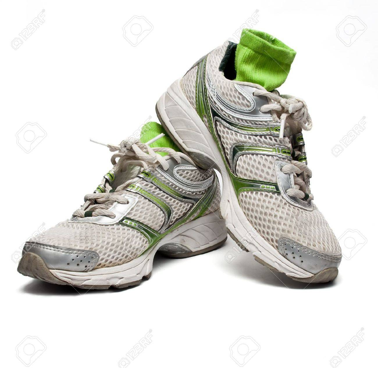 Used running shoes with socks Stock Photo - 11359824