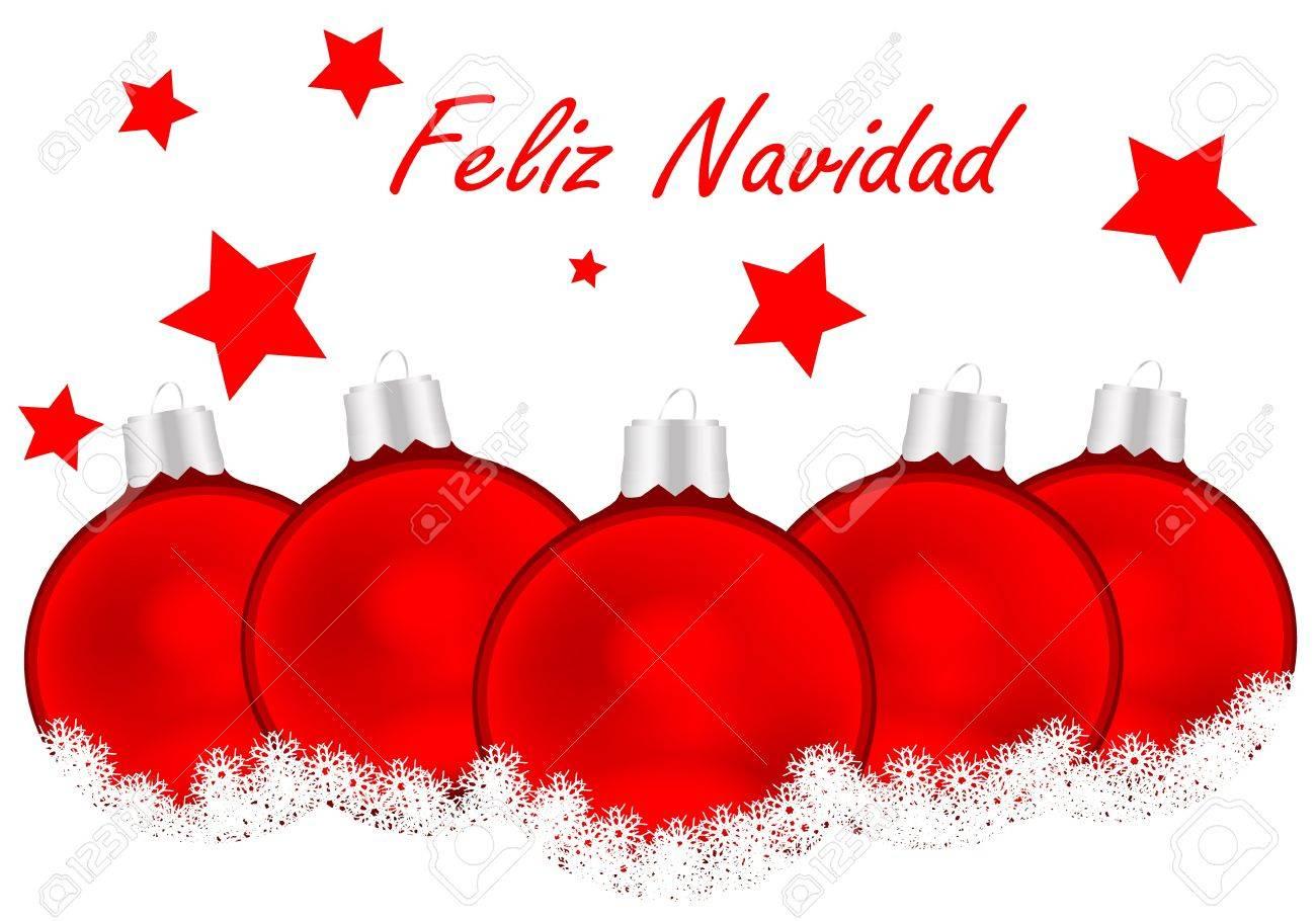 Noel En Espagnol Carte De Joyeux Noël En Espagnol Avec Des Boules Blanches Et