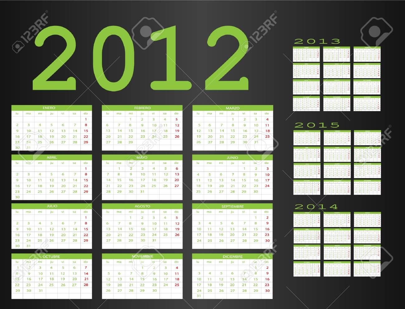 Calendar in Spanish 2012-2013-2014-2015 Stock Vector - 11597034