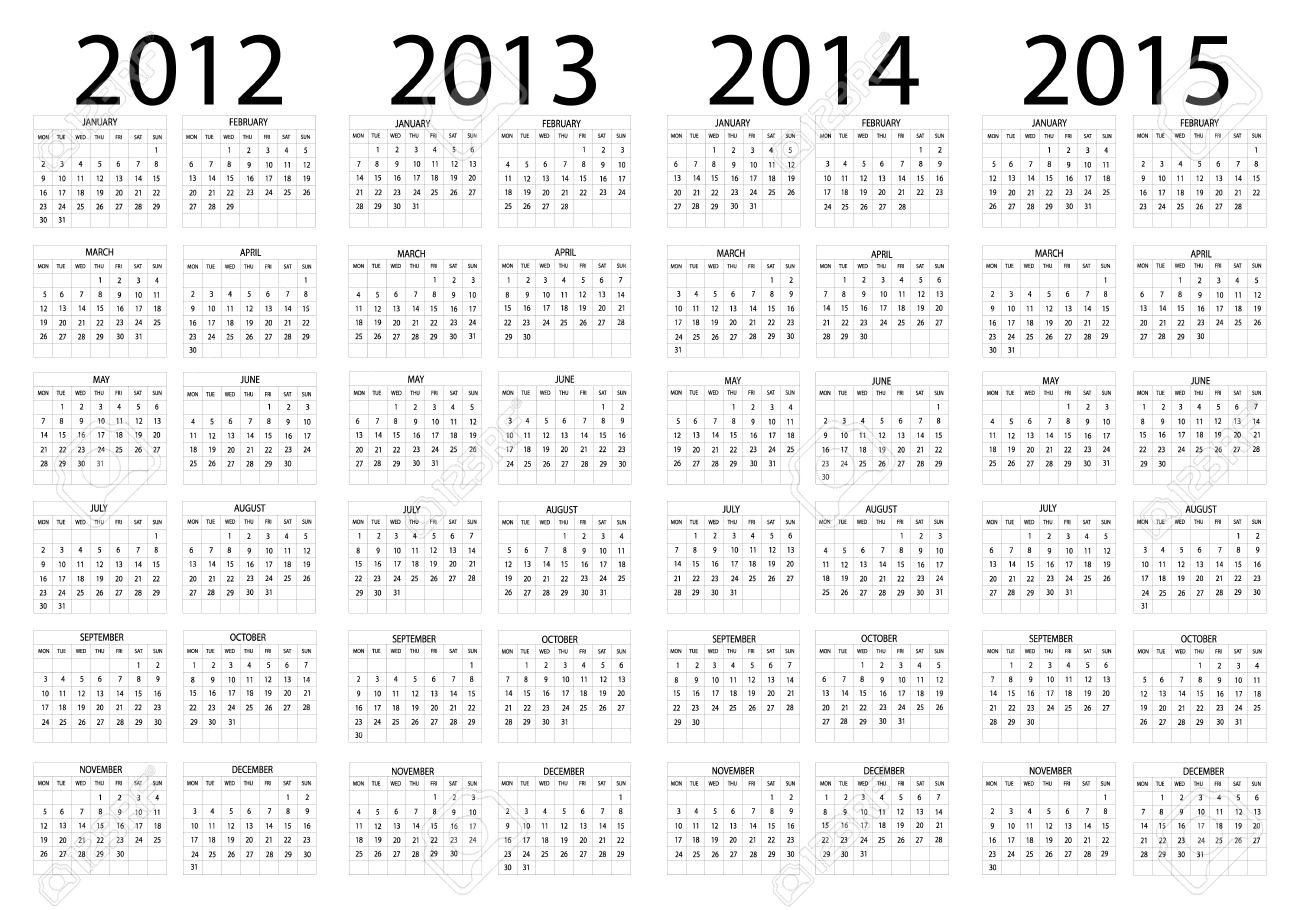 calendar year in english 2012 2013 2014 2015 royalty free cliparts