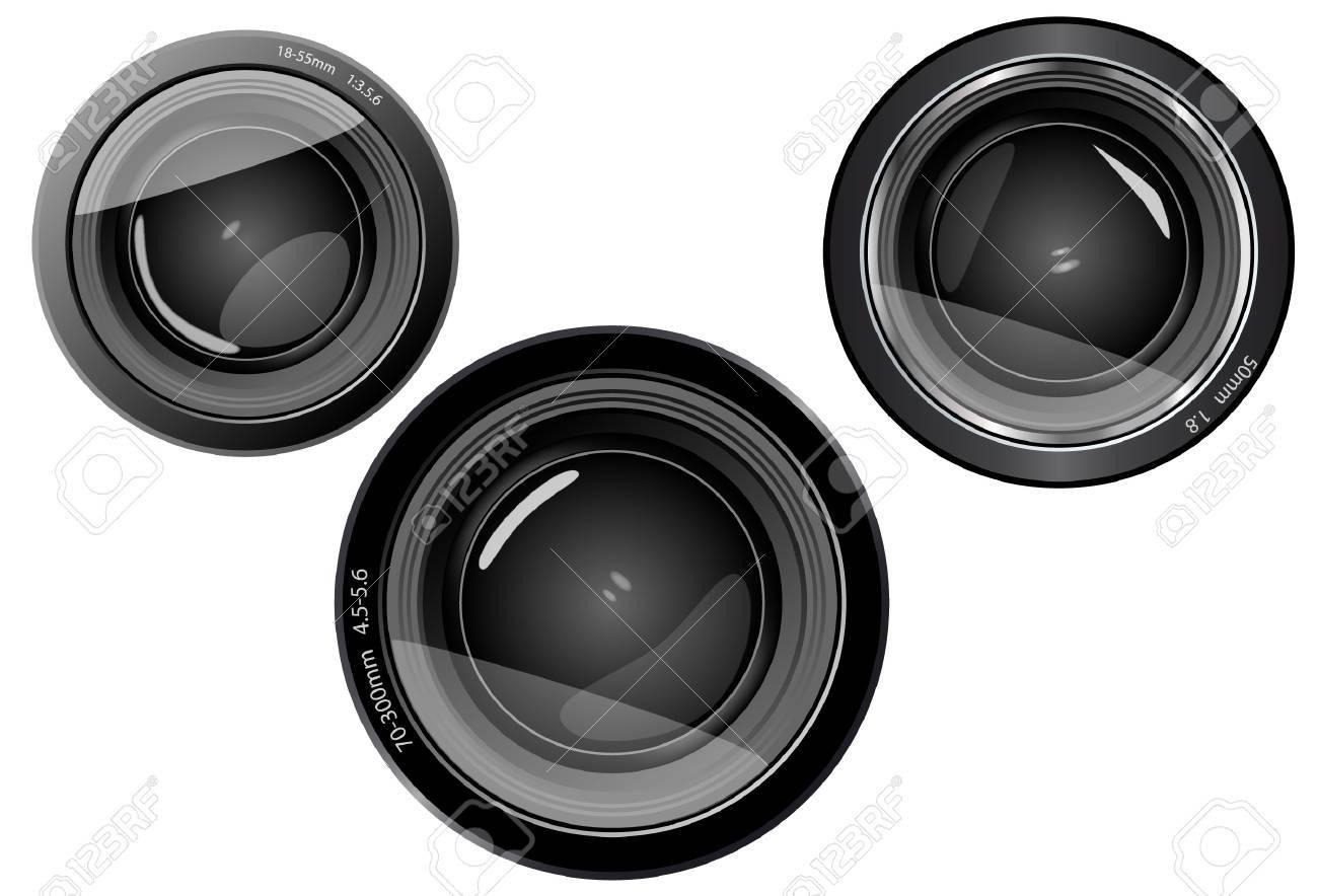 3 camera lens objectives Stock Vector - 11929844