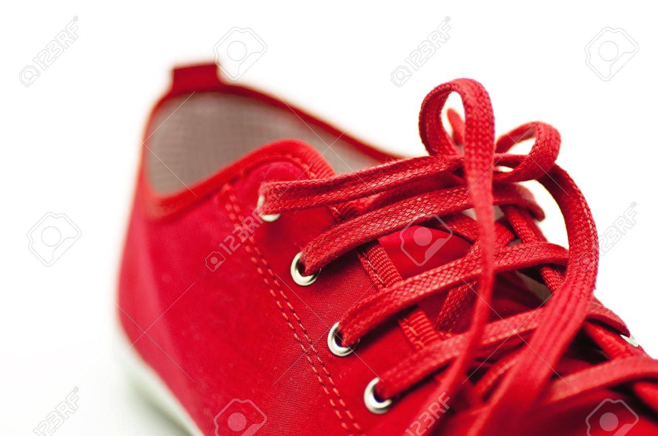 Red Shoes closeup on white background Stock Photo - 13815584