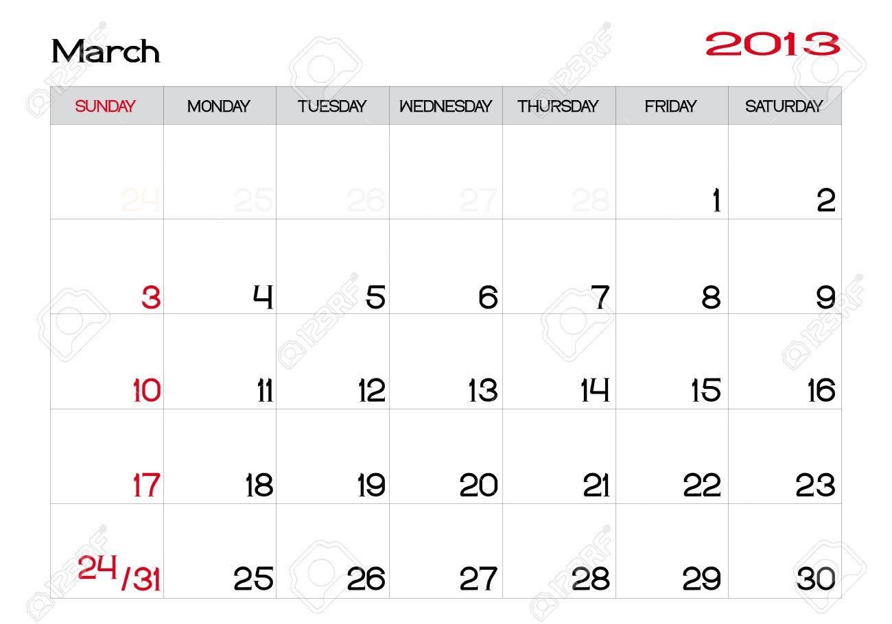 英語で 13 年 3 月のカレンダーのイラスト素材 ベクタ Image