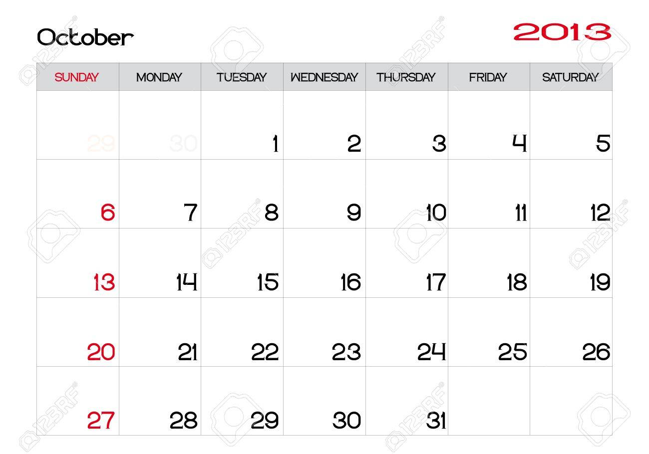 Calendar of october 2013 in english Stock Vector - 13927478