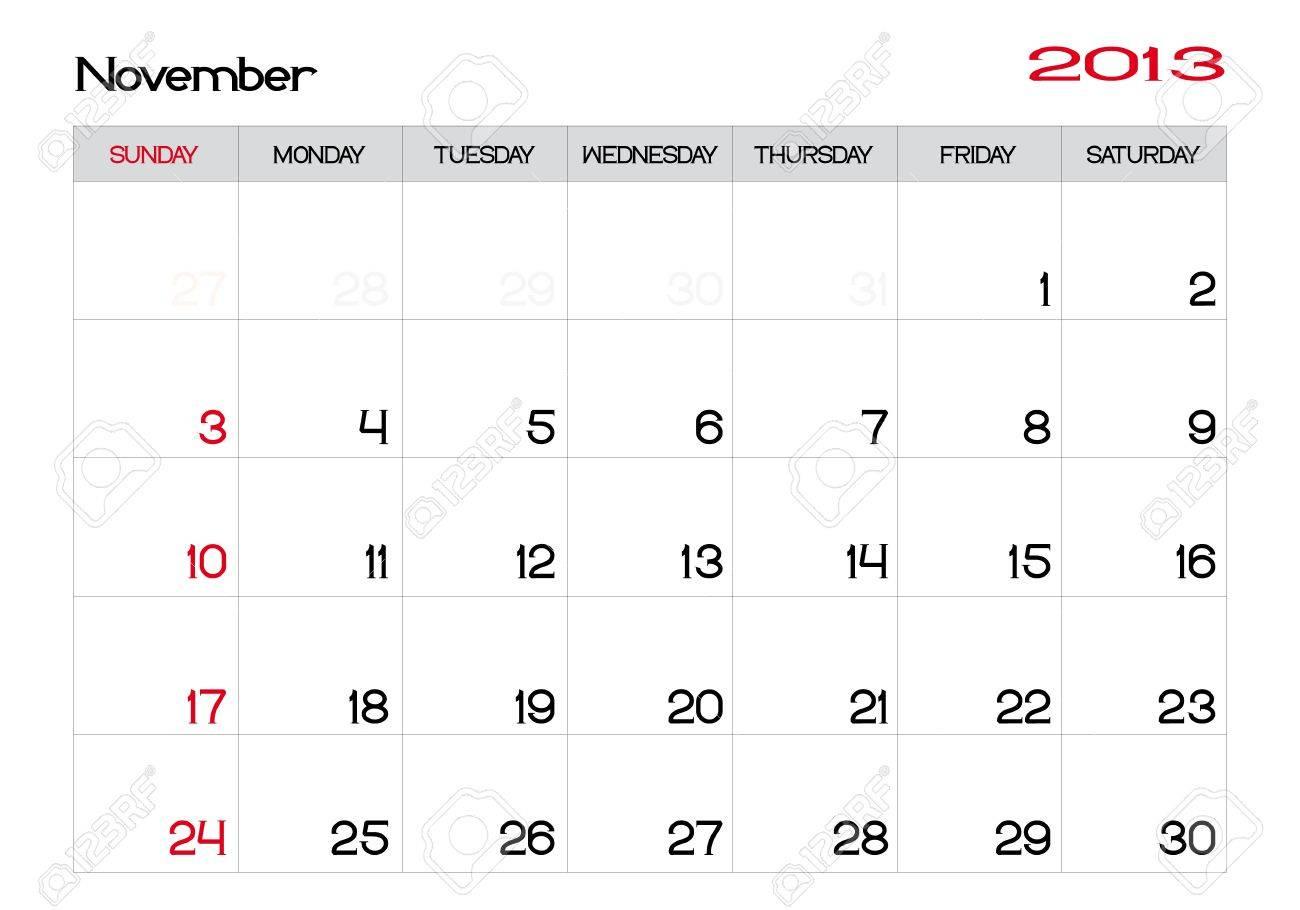 Calendar of november 2013 in english Stock Vector - 13927485