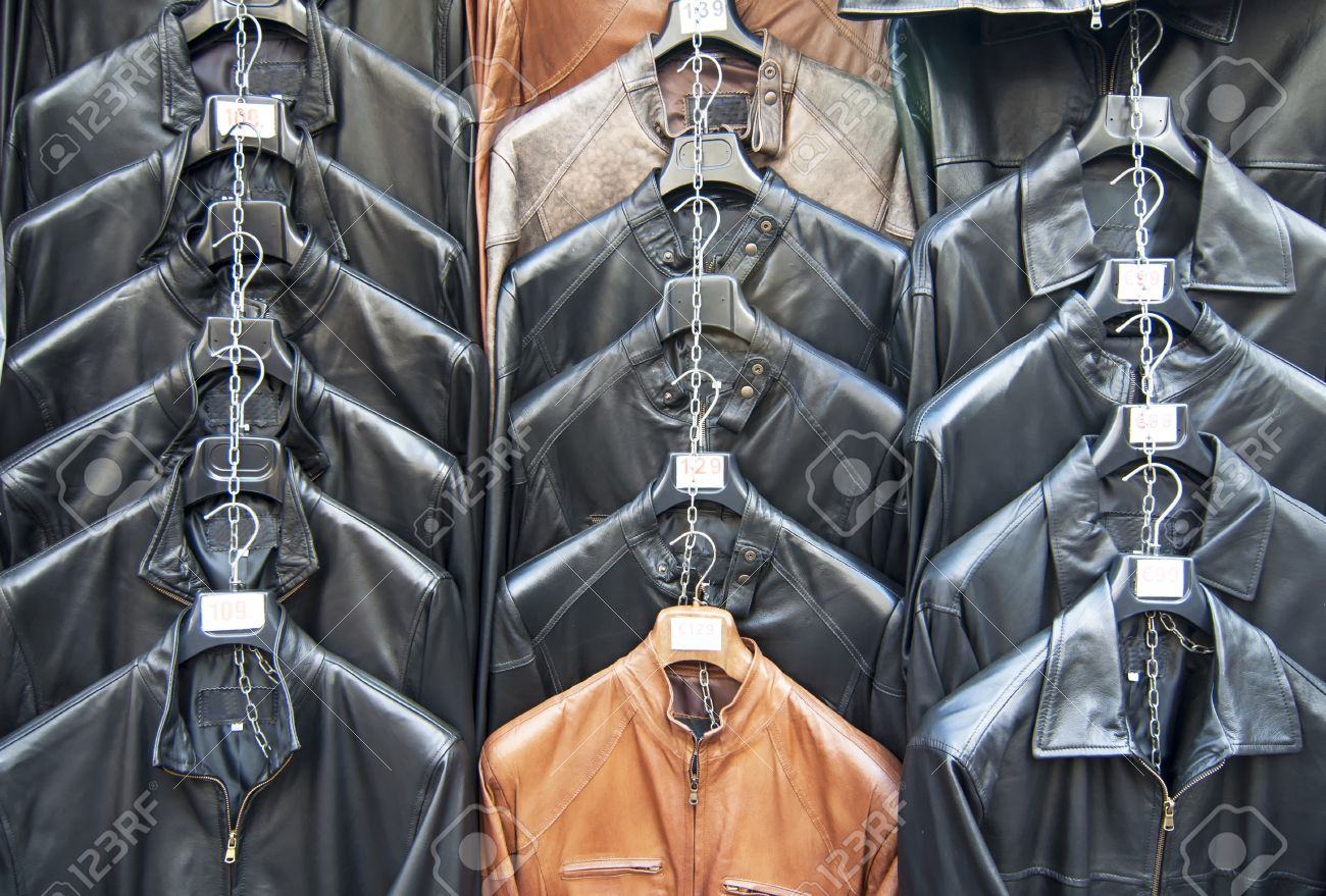 Many Leather Jackets Hanging In Shop Stock Photo, Picture And ...