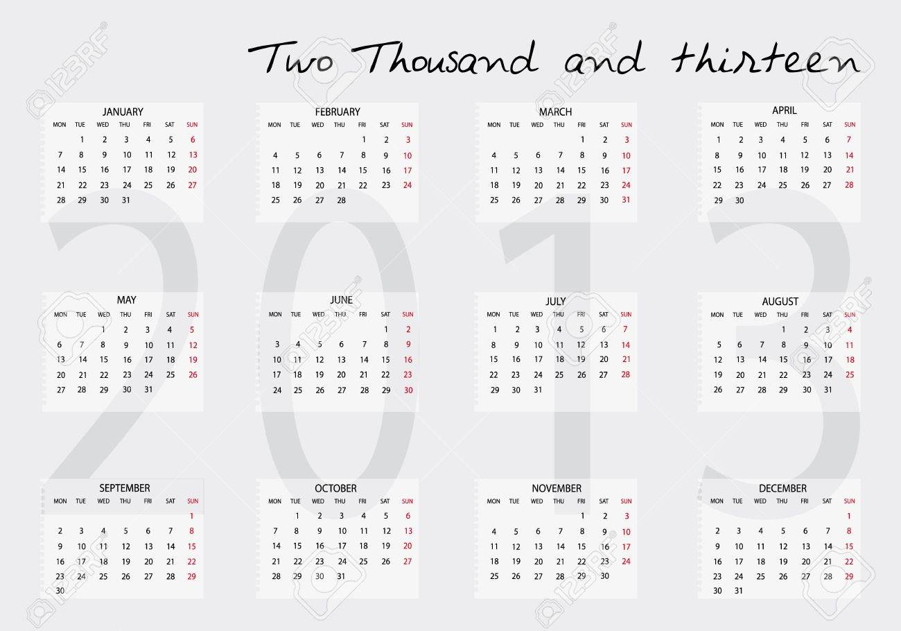 Nuevo calendario 2013 en Inglés Foto de archivo - 14211810