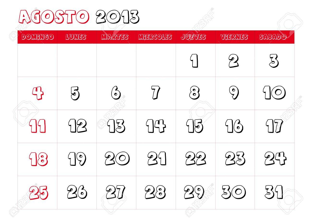 August 2013 Calendar in spanish Stock Vector - 14323772