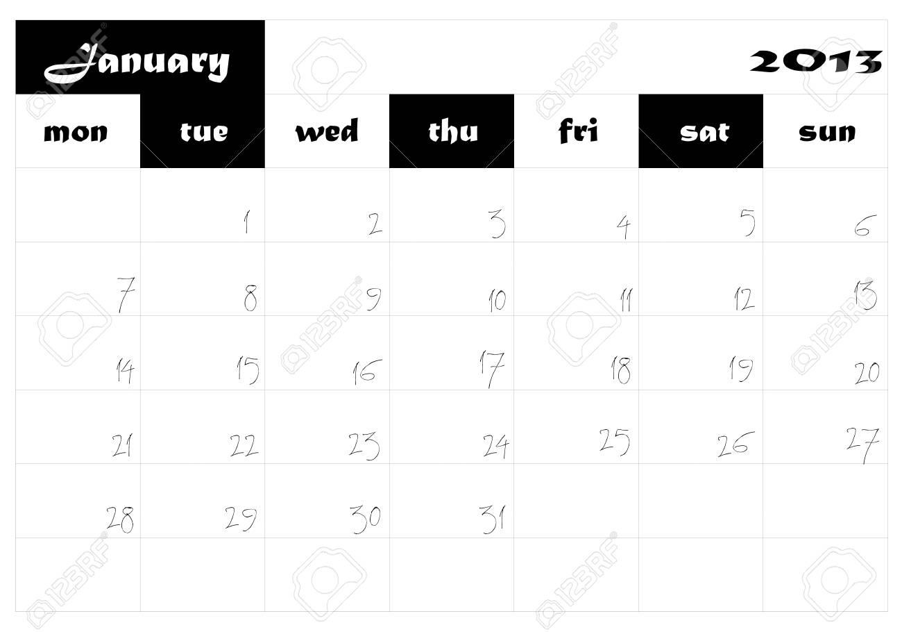 January 2013 calendar in english Stock Vector - 14677285