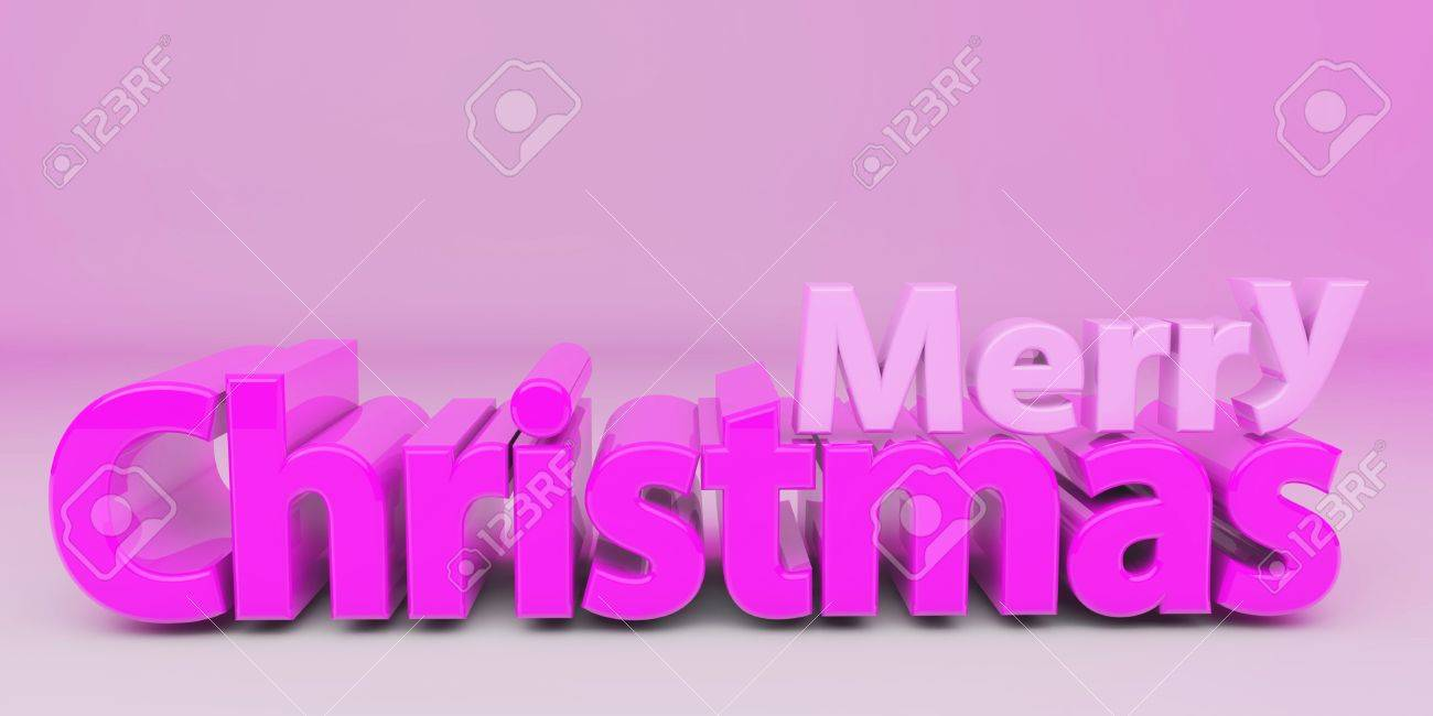 3d Merry Christmas In Pink Stock Photo, Picture And Royalty Free ...