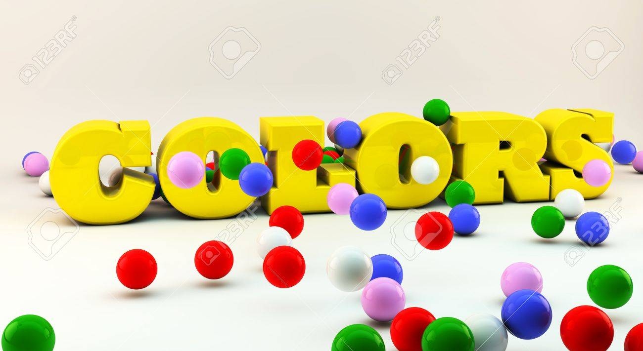 Word colors in 3d  with many colorful balls Stock Photo - 15407922