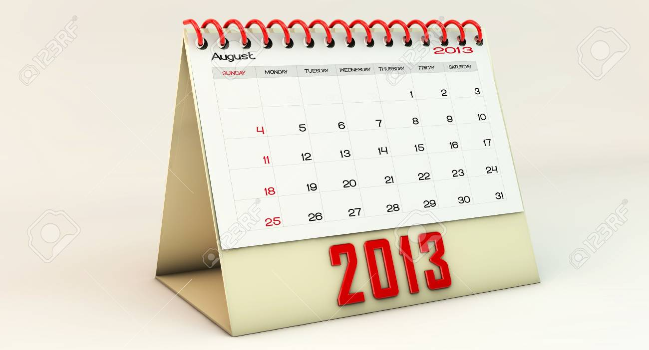 August 2013 in 3d Stock Photo - 16642480
