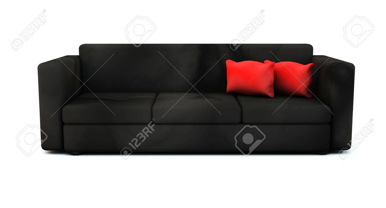 3d Sofa In Black With Red Cushions Stock Photo   16686236