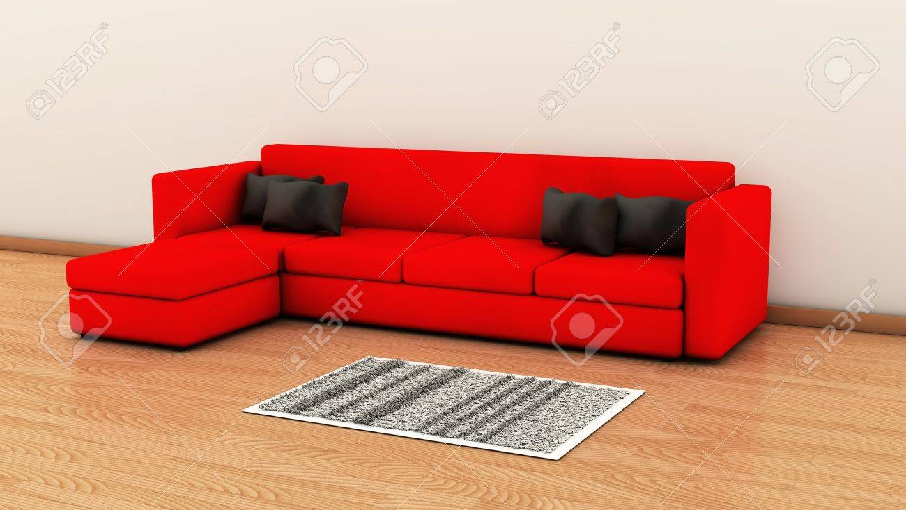 Red Sofa with black cushions and a carpet on a wooden floor