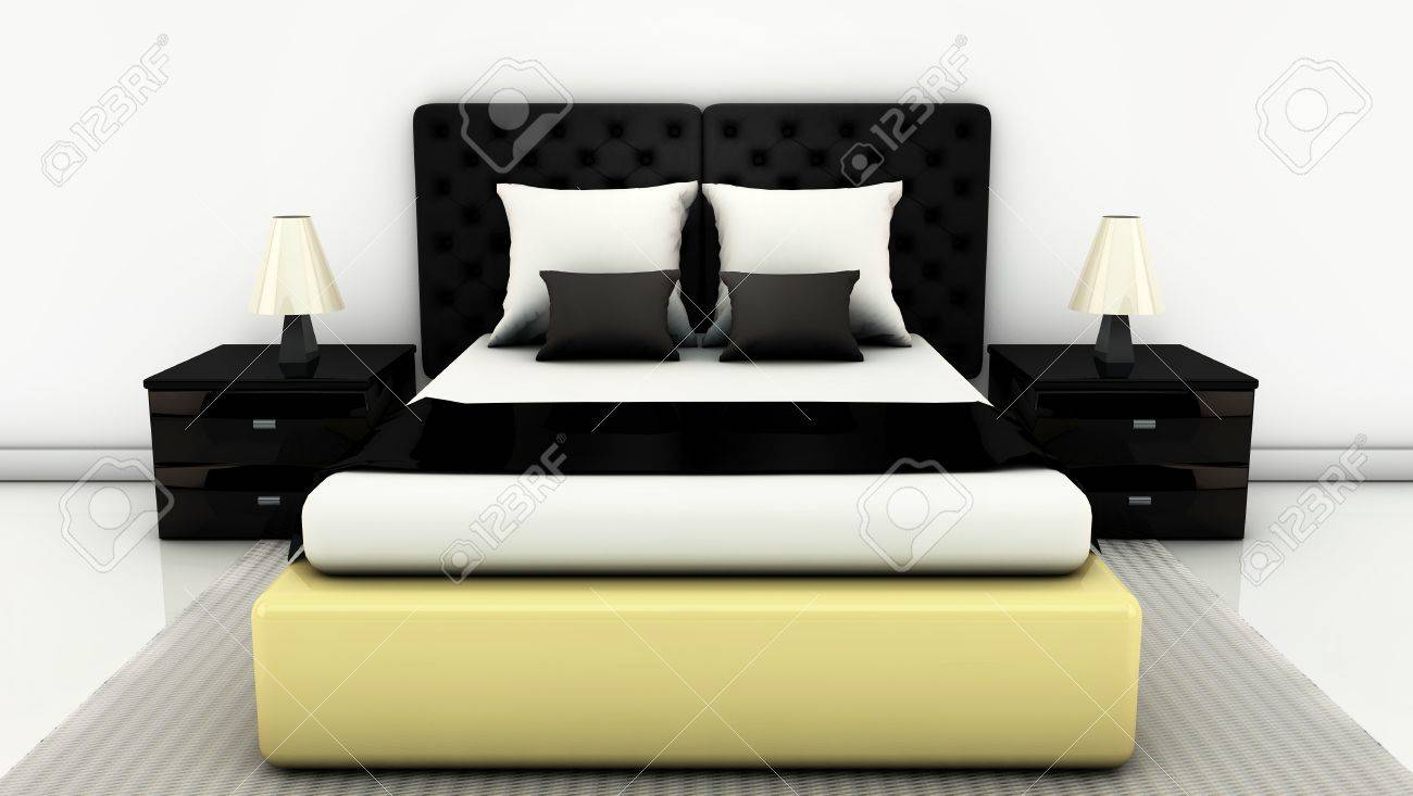 Bed with side tables and floor carpet on bright white in 3d Stock Photo - 16892078