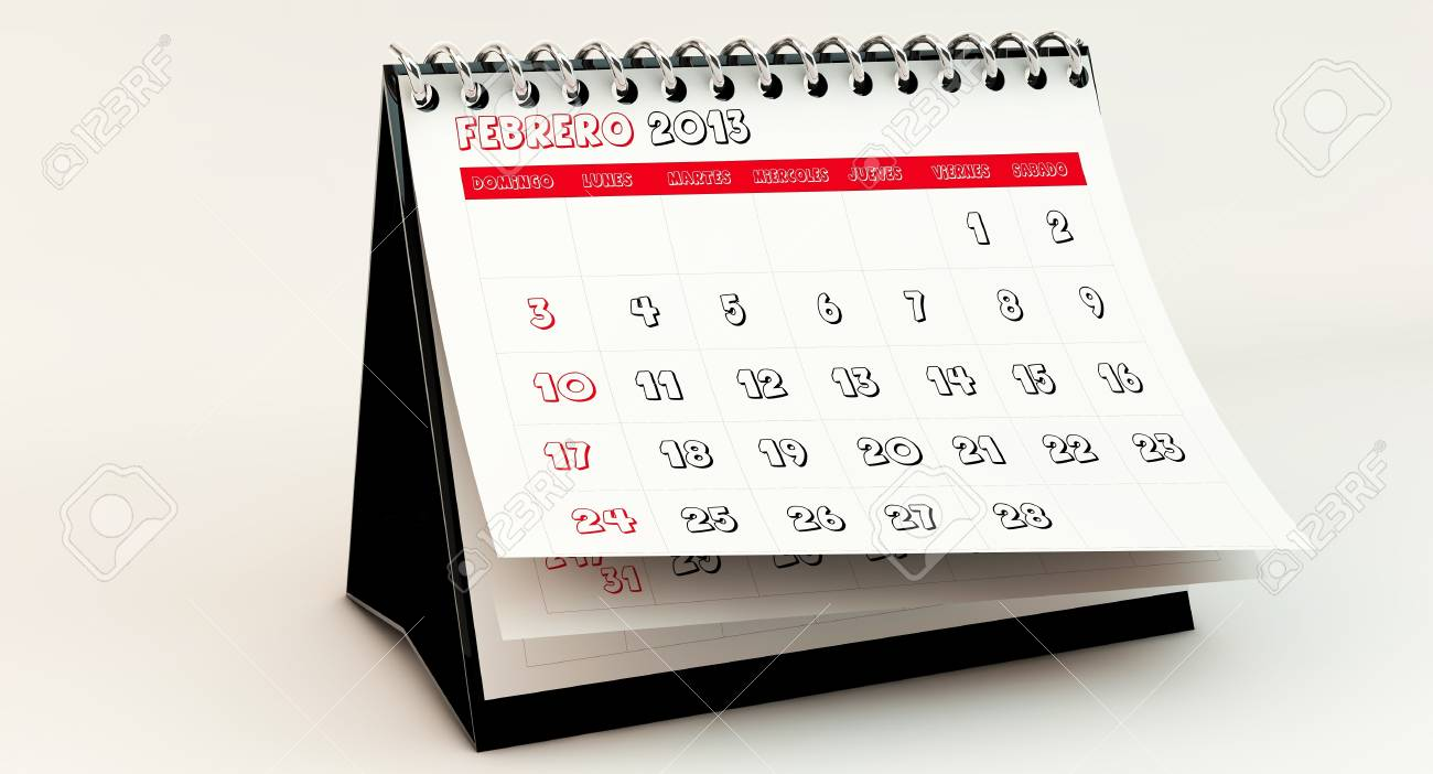 February 2013 Calendar in spanish in 3d Stock Photo - 17162873