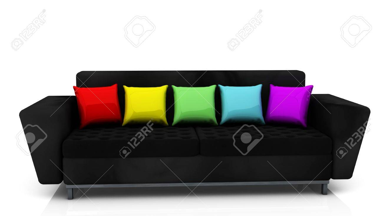Astounding Black Sofa With Cushions Of Many Colors Machost Co Dining Chair Design Ideas Machostcouk