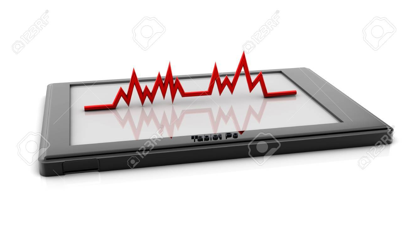 Electronic cardiogram on a tablet pc with reflection on white background Stock Photo - 17836557