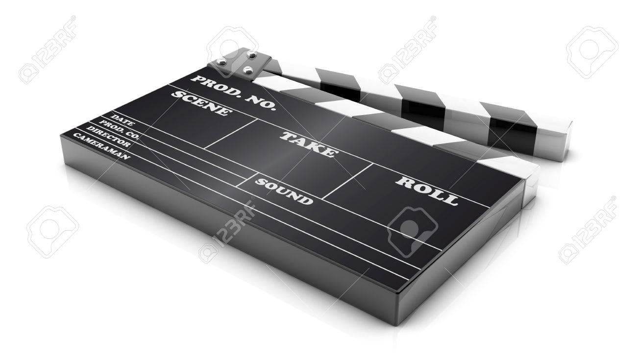3d cinema clapboard on white background Stock Photo - 17973342