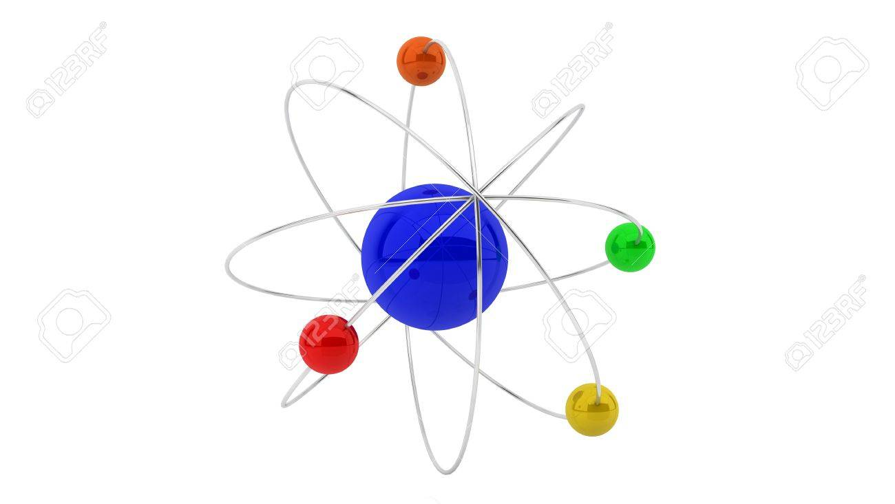 3d atom structure on white background Stock Photo - 18235344