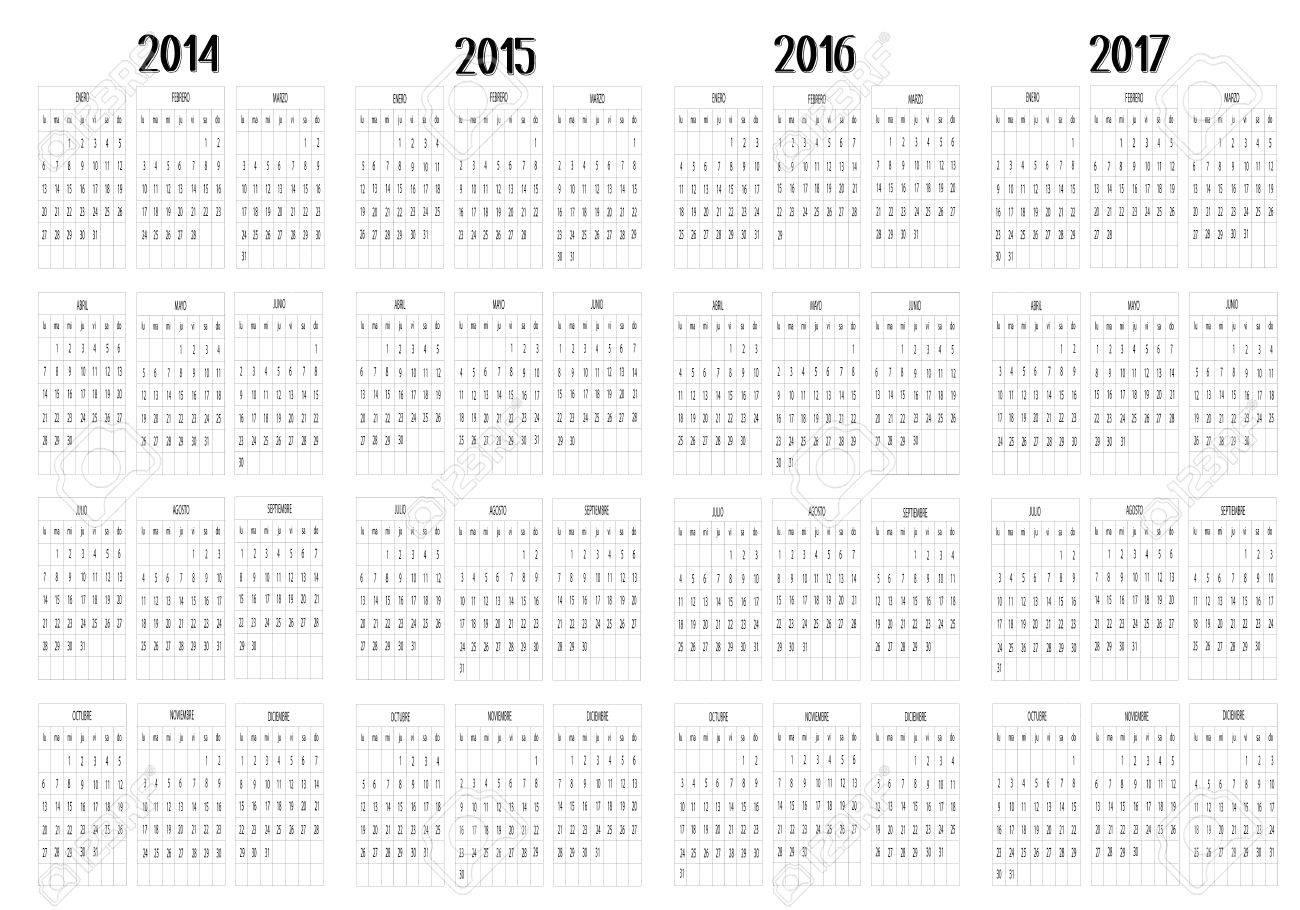 Calendar 2014 to 2017 Stock Vector - 19018303