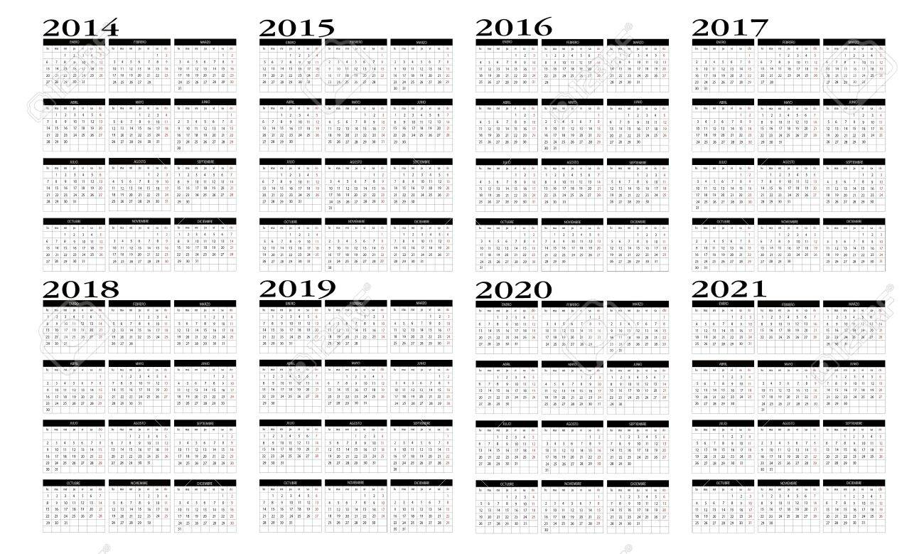 Calendar 2014 To 2021 Royalty Free Cliparts, Vectors, And Stock