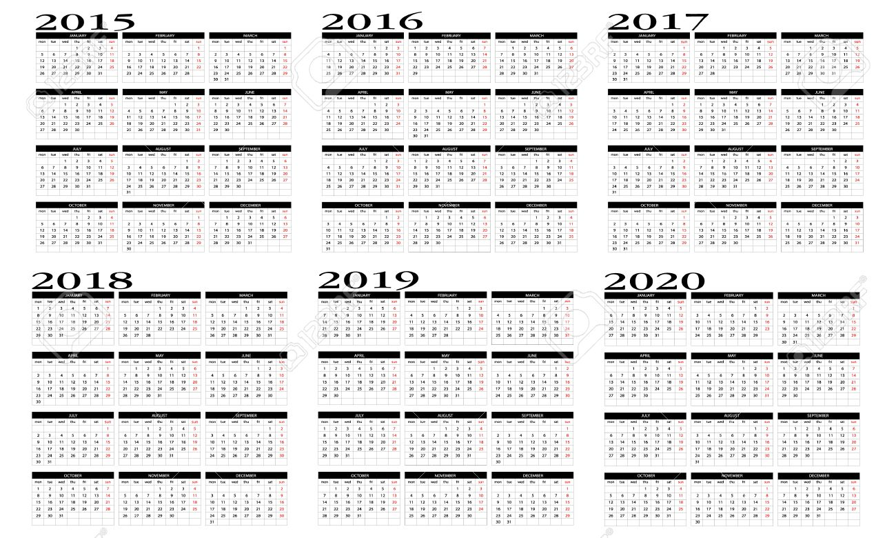 2014 To 2020 Calendar Calendar 2015 To 2020 Royalty Free Kliparty, Vektory A Ilustrace