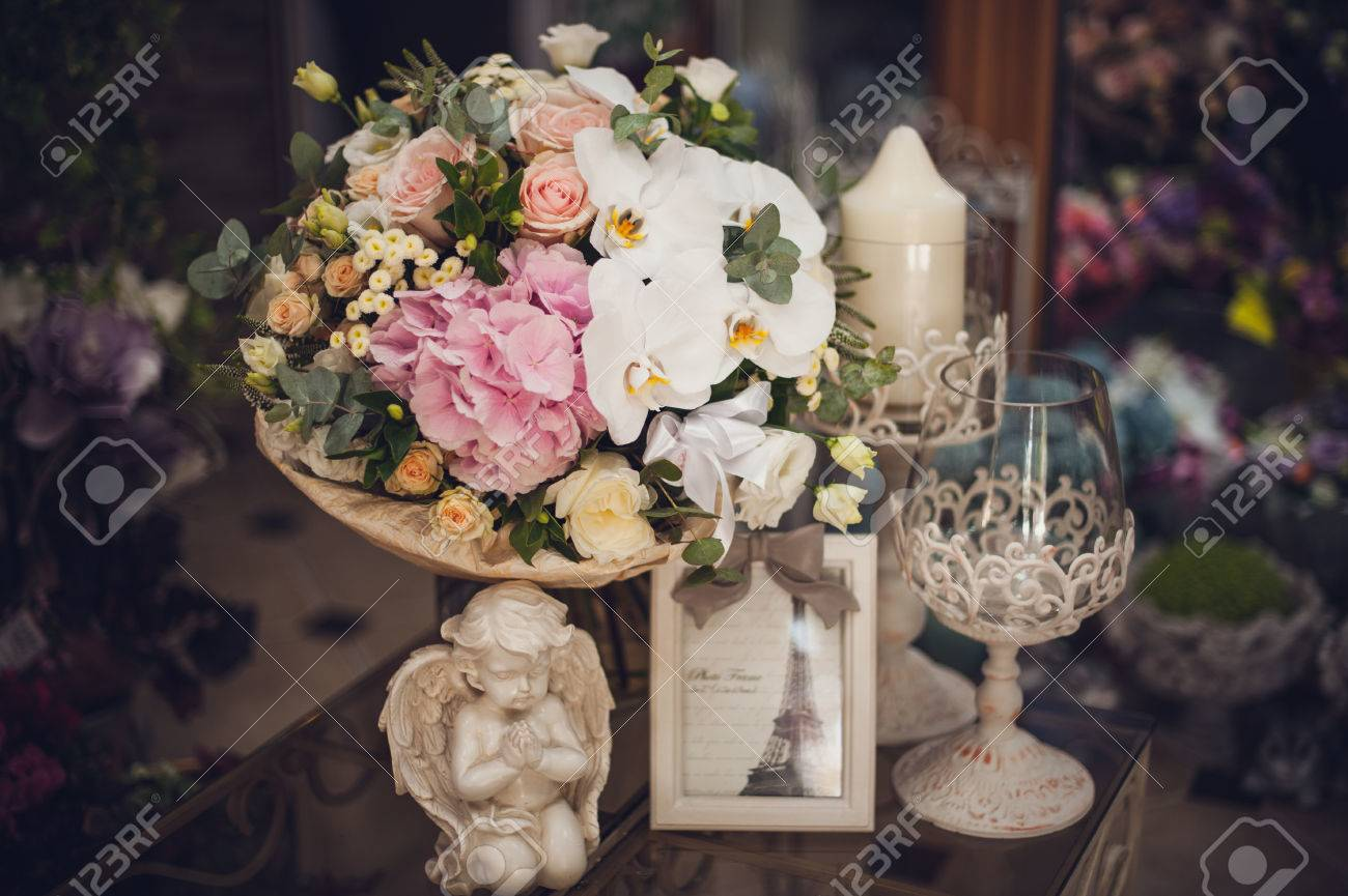 Beautiful Delicate Bridal Bouquet On The Table Floral Wedding