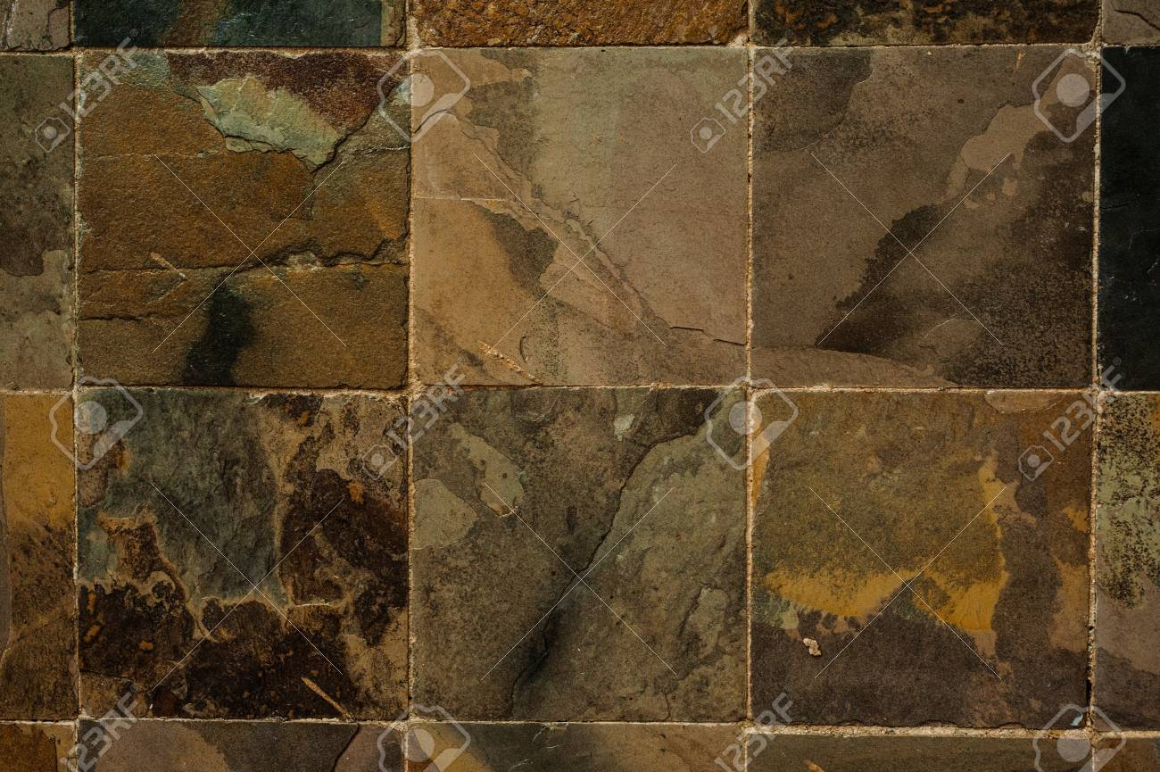 Background Of Black And Brown Stone Tiles Texture Stock Photo
