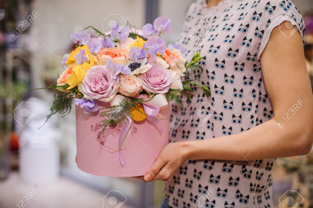 Beautiful Mix Flower Bouquet In Round Box With Lid Stock Photo