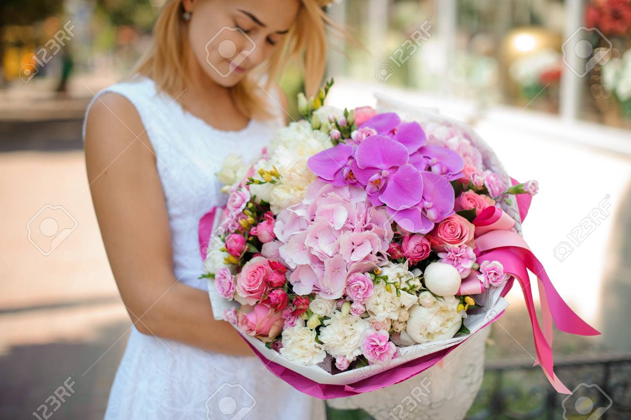 Beautiful Mixed Flower Bouquet Hold By Woman. Hortensia Rose.. Stock ...