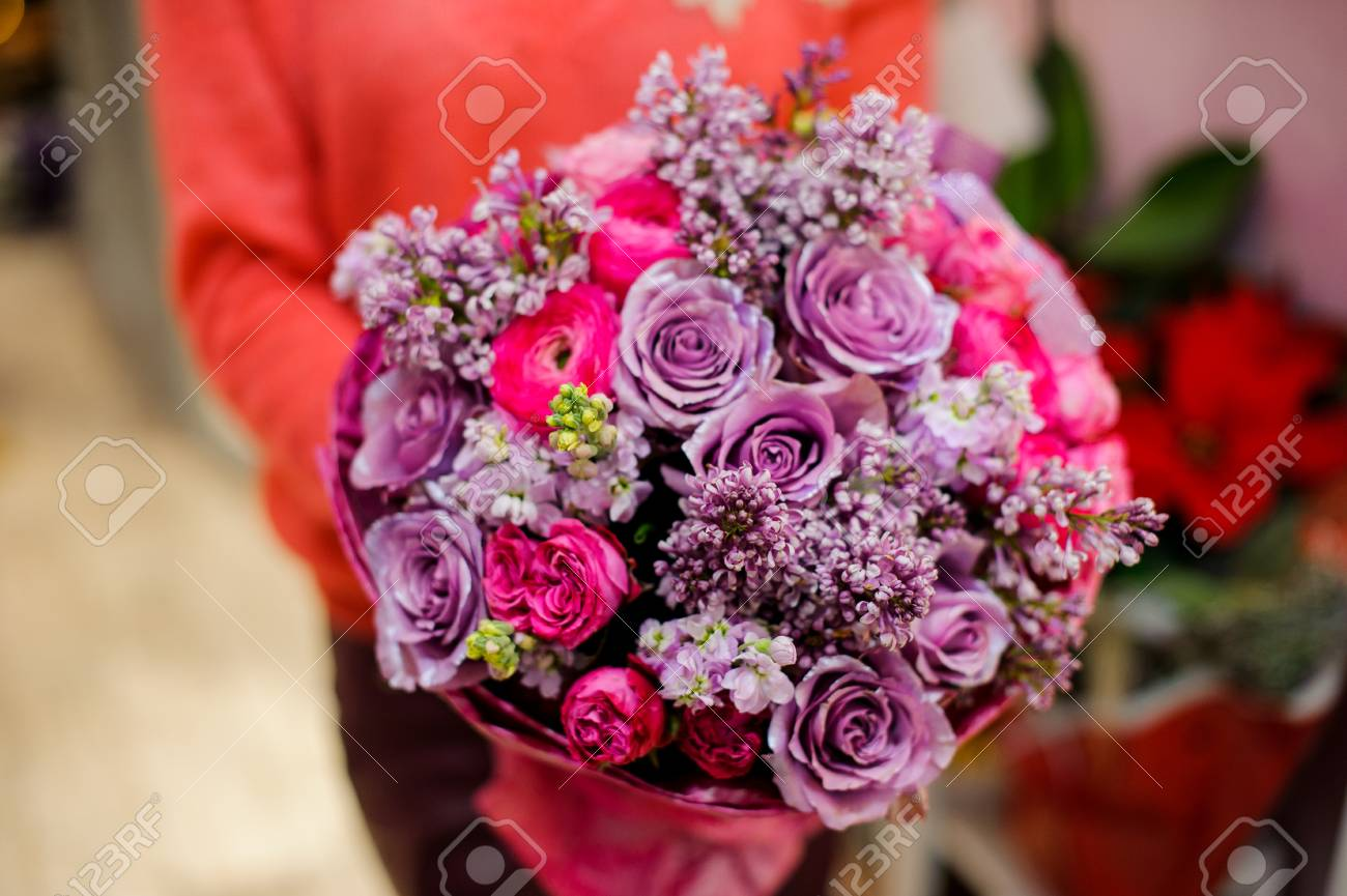 Bright And Pretty Bouquet Of Colorful Beautiful Flowers In Woman