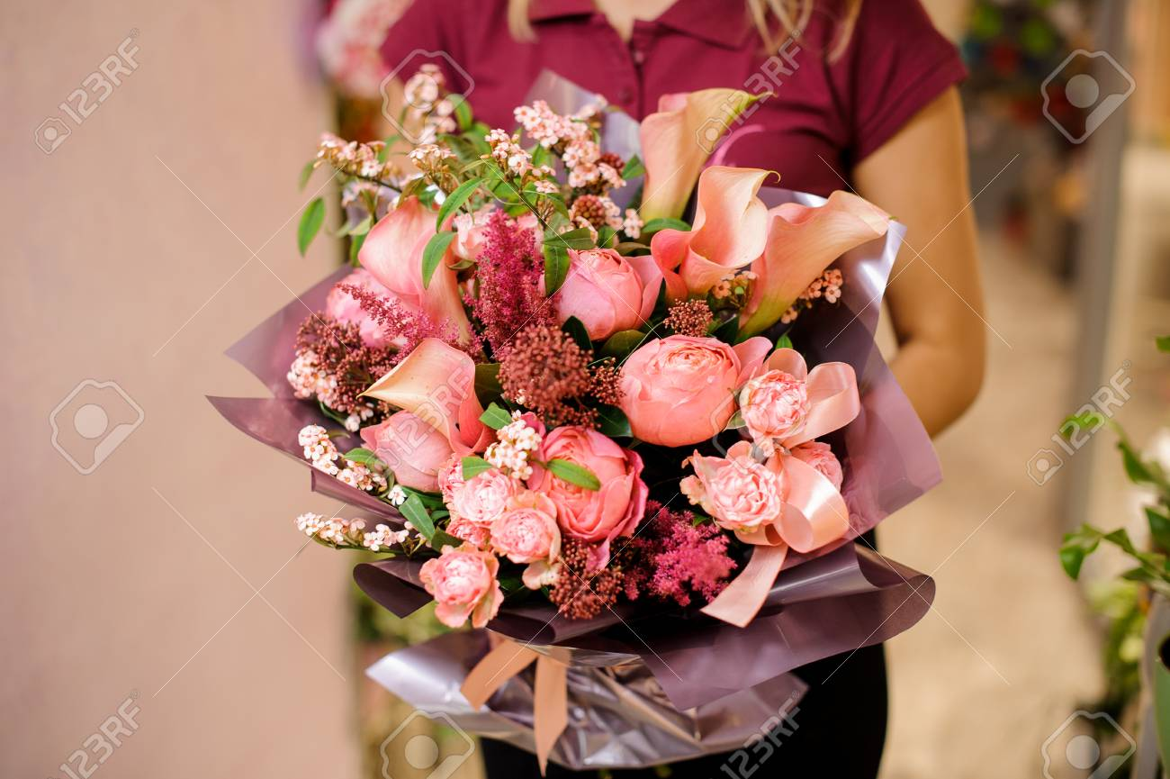 Gorgeous Pink Bouquet Of Tender And Beautiful Flowers In Woman ...
