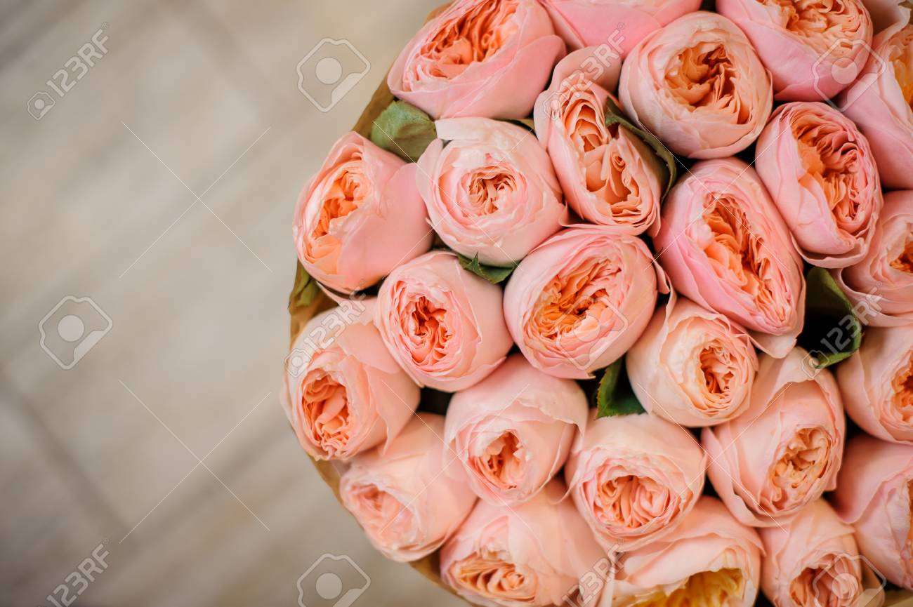 Top View Photo Of A Gorgeous Bouquet Of Flowers Consisting Of ...