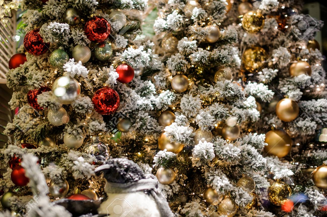 Red White And Silver Christmas Tree.Beautiful Background Christmas Tree Decoration Elements Consisting