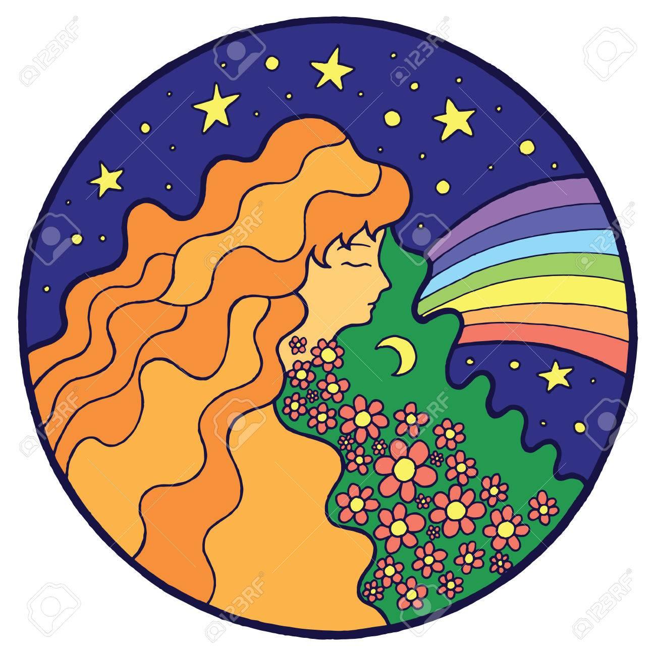 Psychedelic Hippie Mädchen Mit Blume Im Haar. Lizenzfrei Nutzbare ...