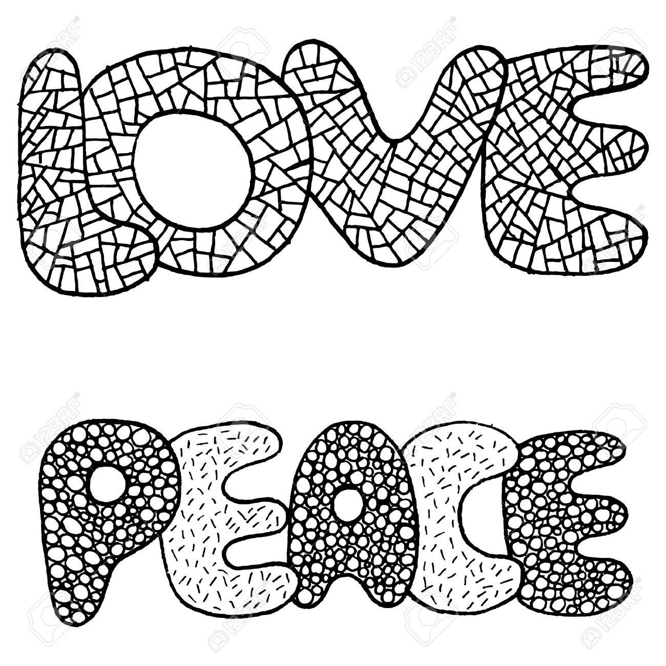 Coloring Page With Love And Peace Word Hand Drawn Black And