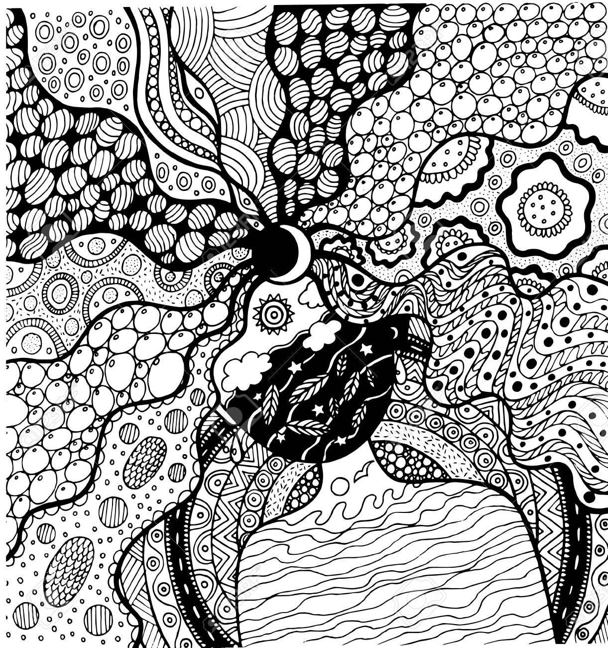 Coloring Page With Surreal Girl For International Mother Earth Day 22 April Hand Drawn Illustration